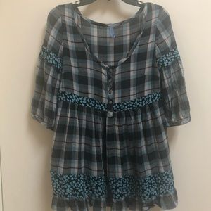 Free People small plaid boho blouse